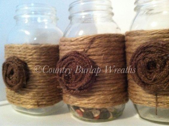 Quart Mason Jar with Jute yarn and Burlap Flower