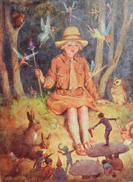 Queen of the Brownies by Margaret Tarrant. Margaret Winifred Tarrant was an English illustrator specializing in depictions of fairy-like children and religious subjects. She began her career at the age of 20, and painted and published into the early 1950s. Wikipedia