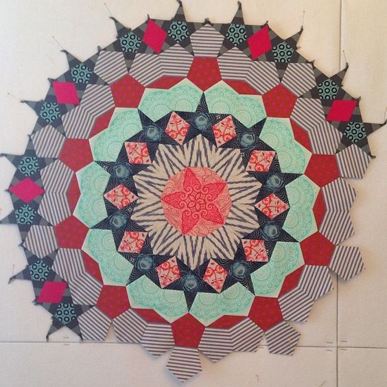 Block two of the epic millefiori quilt project. I should be doing other things at night like sleeping but I can't help myself.
