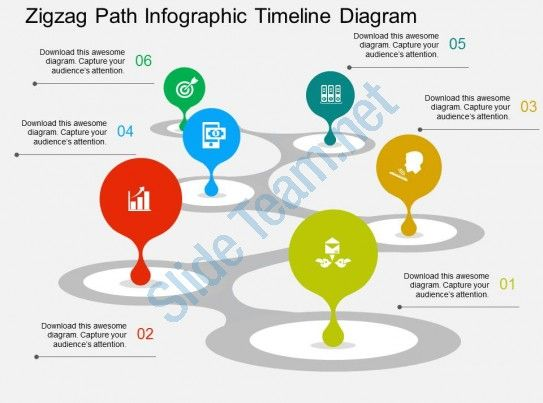 zigzag path infographic timeline diagram flat powerpoint design ...