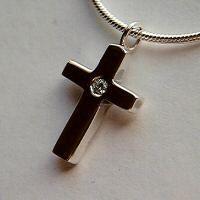 Ladies Handmade Silver Diamond Cross Pendant Necklace.  By Dogstone Designs  Contact - 0161 491 0624