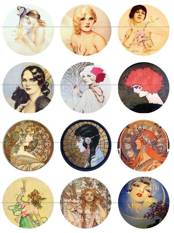 58 mm Planche les célébrités pour miroir de poche ou autre : Images digitales pour bijoux par luxe