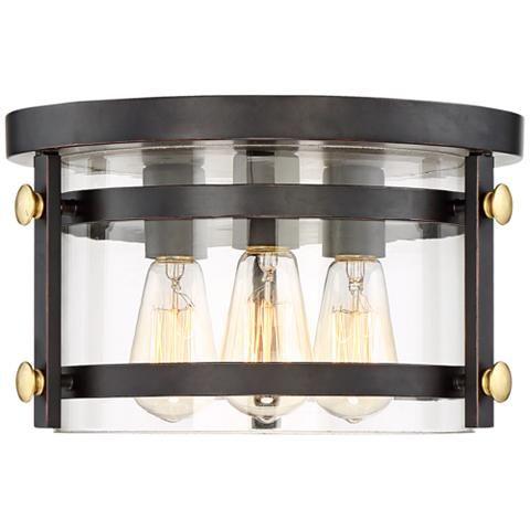 Eagleton 13 1 2 Wide Oil Rubbed Bronze Led Ceiling Light 35f49 Lamps Plus Bronze Ceiling Lights
