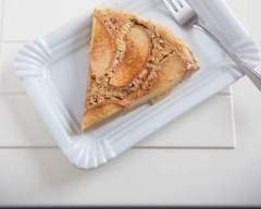 Clafoutis aux pommes sans gluten simple : 4 pommes, 5 oeufs, 200g crème, 125g beurre, 4cs maïzena, 4cs sucre, 1cs sucre vanillé