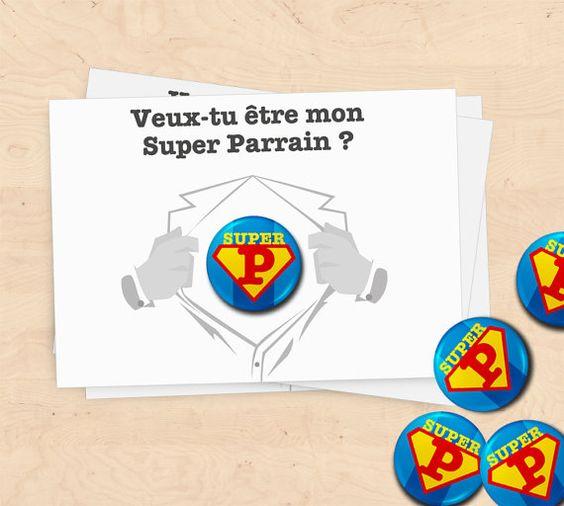 Carte badge cadeaux super parrain/marraine baptême par MimosaChroma