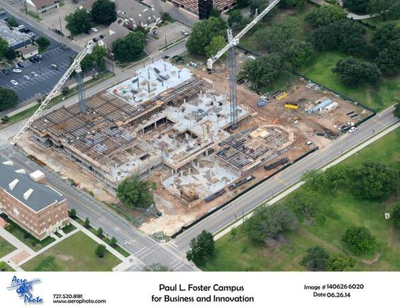 Aerial shot of construction on new #Baylor business school (June 2014)