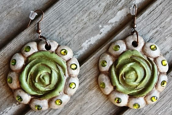 Aquilla Rose in Lime and Bone White Dangle Earrings