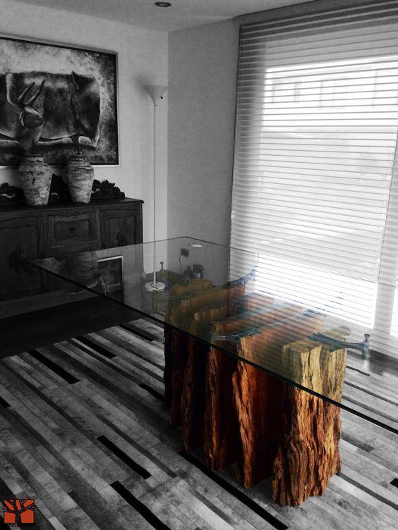 Nativo redwood mesa comedor con base de tronco de madera for Mesas de troncos de madera