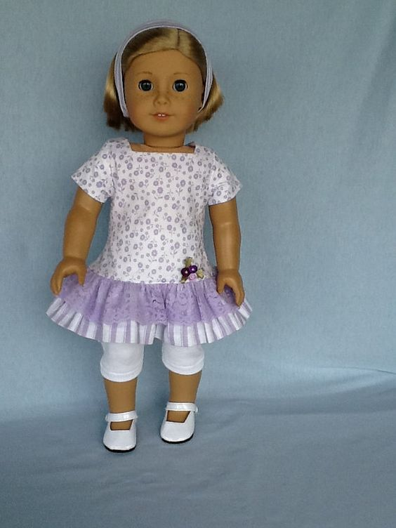 18 inch doll dress leggings and headband. Fits by ASewSewShop