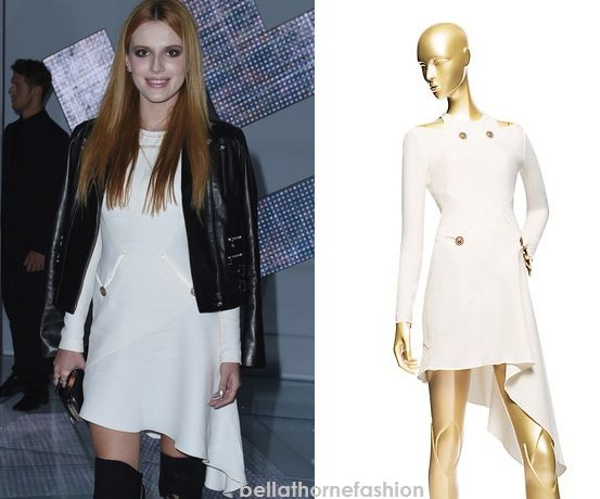 Bella Thorne wears this Versace Long Sleeve Bias-Cut Dress at the Versace Fashion Show at Milan Fashion Week.