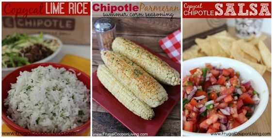 Copycat Chipotle Recipes including Carnitas  in the Crock-Pot, Copycat Chipotle Lime Rice with Cilantro,  Chipotle Parmesan Corn Seasoning and Chipotle Sala or Pica De Gallo on Frugal Coupon Living: Chipotle Lime Rice, Chipotle Recipes, Carnitas Recipe, Cilantro Chipotle, Recipes Copycats, Carnita Meat, Chipotle Parmesan, Chipotle Carnitas, Chipotle Guacamole Recipe