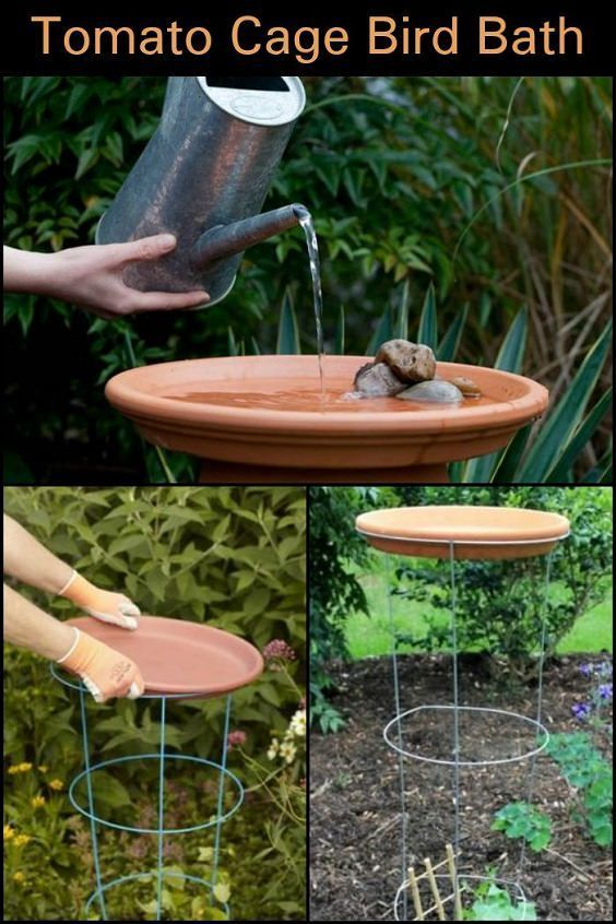 If You Re Looking For A Simple Diy Bird Bath This Idea Has Got To Be 1 On The List Greenhouse Bird Bath Garden Diy Bird Bath Diy Garden Projects