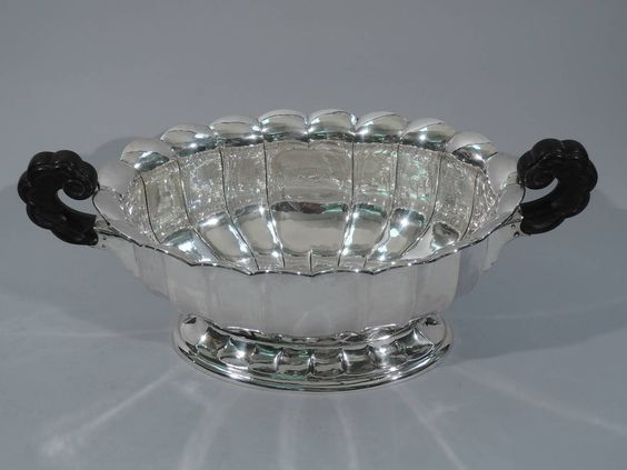 Classical Centerpiece Bowl, German Silver, BI951, circa 1920   From a unique collection of antique and modern centerpieces at https://www.1stdibs.com/furniture/dining-entertaining/centerpieces/