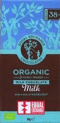 Organic, 38% milk chocolate bar