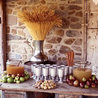 Entertaining & party ideas - Fall Harvest party: Hot spiced apple cider and fresh doughnuts. Love the pewter goblets.