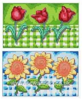 Gingham Tulips & Sunflowers Chart Pack (2 designs)