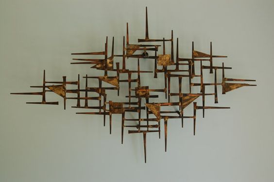 Mid Century Modern Brutalist Nail Art Wall Hanging