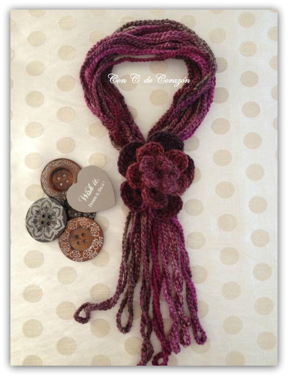 Bufanda crochet con flor
