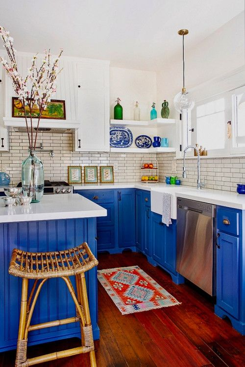 Craftsman Kitchen For Those Who Love Blue Town Country Living Colorful Kitchen Decor Kitchen Colors Kitchen Decor