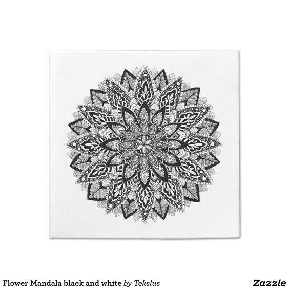 Flower Mandala black and white Standard Cocktail Napkin