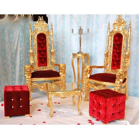 location trne mariage modle lion dor et rouge httpwww - Location Trone Mariage Pas Cher