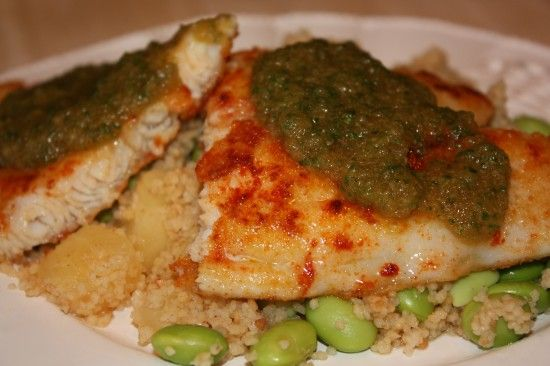 Pineapple Soy Tilapia with Basil Couscous