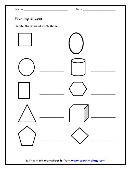 Math Shapes Worksheets Davezan – Geometric Shapes Worksheets for Kindergarten