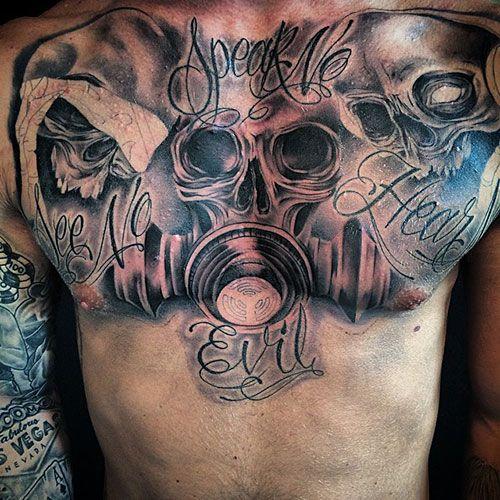 101 Best Skull Tattoos For Men Cool Designs Ideas 2019 Guide Tattoos For Guys Cool Chest Tattoos Chest Tattoo