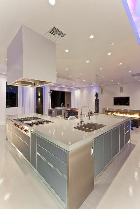 Moderne Küchen Kochinsel küchenblock freistehend beleuchtung - moderne einbaukuechen kochinsel