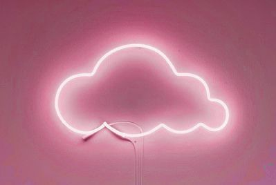 Neon cloud light with a pale pink background.