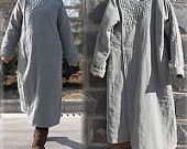 045---Hand Embroidered Washed Linen Cotton Padding Gray Coat,Maxi Coat, Linen Outerwear.