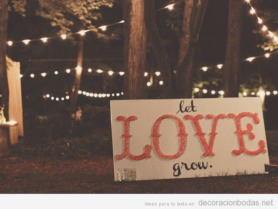 Ideas decorar boda jardín, String Art con palabra LOVE