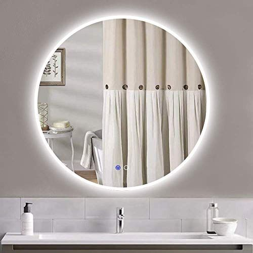 Enjoy Exclusive For Keonjinn Led Round Mirror 32 Inch Diameter Bathroom Circle Vanity Mirror Anti Fog Wall Mounted Mirror Dimmable Makeup Mirror Lights Online In 2020 Led Mirror Bathroom Round Mirror Bathroom Makeup