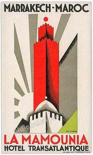 "Erik Nitsche (1908-1998). Hotel "" La Mamounia"", sans date."