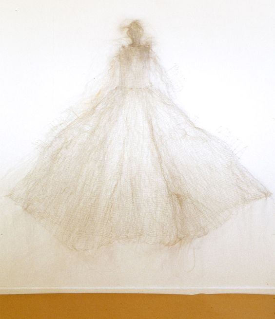 Corolla by Lesley Dill, made out of wire and horsehair