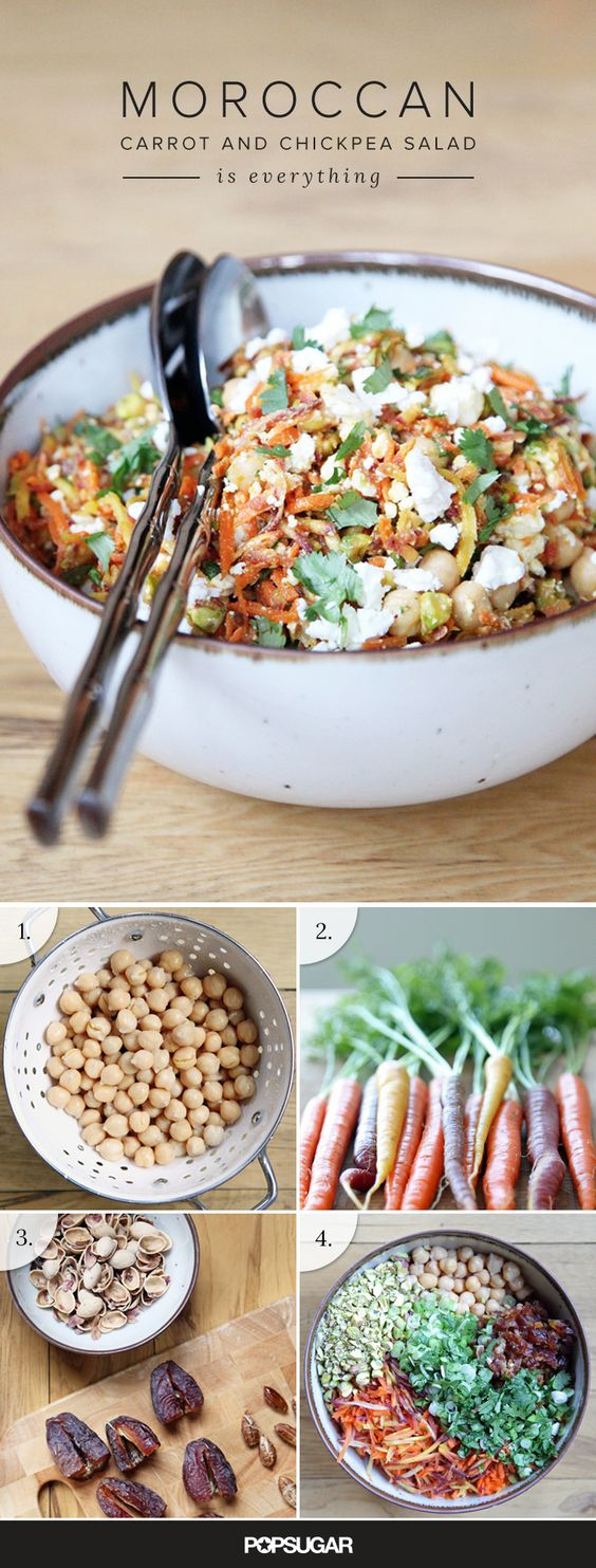 This carrot and chickpea recipe is meal-worthy on its own, makes for a great brown-bag lunch , is gluten-free and vegetarian (even vegan if you ditch the feta for some chopped green olives) and it comes together in about half an hour.