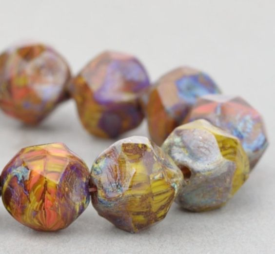 Czech Glass Beads - Central Cut Beads - Gaspeite Opaque, Orange Opaqaue, and Topaz Transparent Mix with Picasso Finish - 9mm - 15 beads @SolanaKaiBeads on Etsy #Beads #SolanaKaiBeads