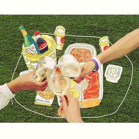한강 피크닉! 치킨, 와인, 좋은 친구들, 그리고 수다수다수다   #데일리 #한국 #서울 #한강 #나들이 #피크닉 #치킨 #와인 #친구 #그림쟁이 #일러스트 #그림 #디자인 #손그림 #아트 #instadaily #instafood #Korea #Seoul #picnic #chicken #wine #friends #illustration #doodle #drawing #design #art #artist #creative