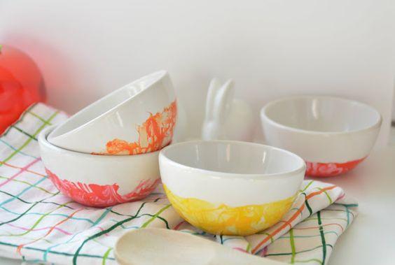 Autour de Cia: DIY: Pimp ta cuisine... Vaisselle marbrée