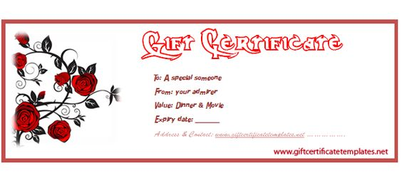 Red-rose-gift-voucher-template Beautiful Printable Gift - printable christmas certificates