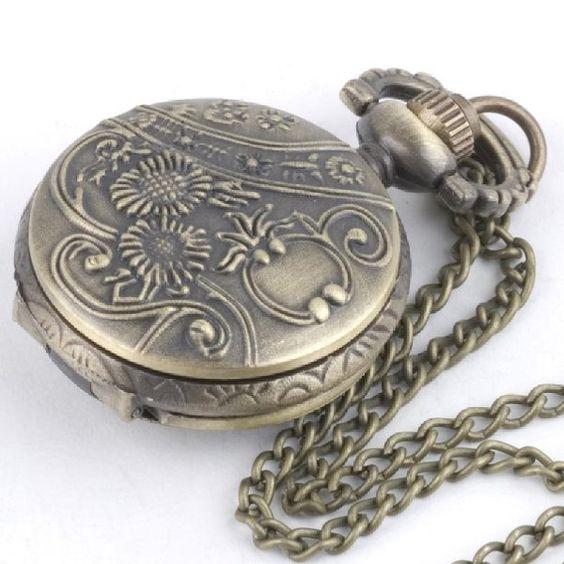 81stgeneration Women's Brass Vintage Style Owl Pocket Watch Chain Pendant Necklace, 78 cm