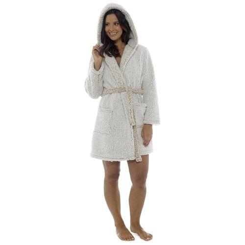 Ladies Womens Super Soft Flannel Fleece Hooded Dressing Gown Fleece Snuggle Robe
