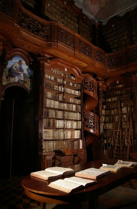 Amazing library. Love the wooden spiral staircase!
