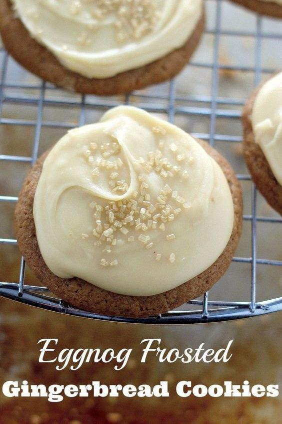 ... chewy gingerbread cookies topped with a creamy eggnog frosting. YUM