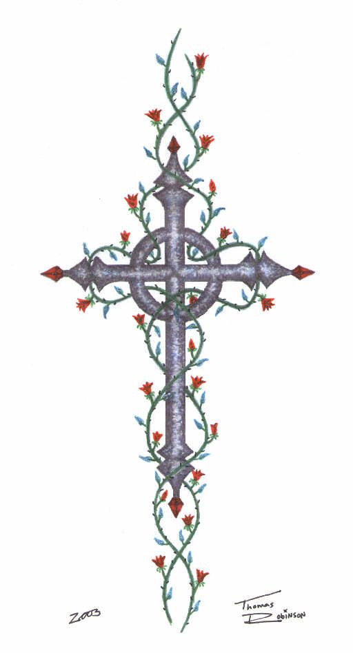 Celtic cross with roses i like the cross not the vines for Celtic cross with roses tattoo designs