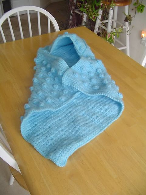 Crochet Pattern For Baby Blanket With Hood : Hooded Bobble Baby Blanket (crochet) pattern by Lion Brand ...