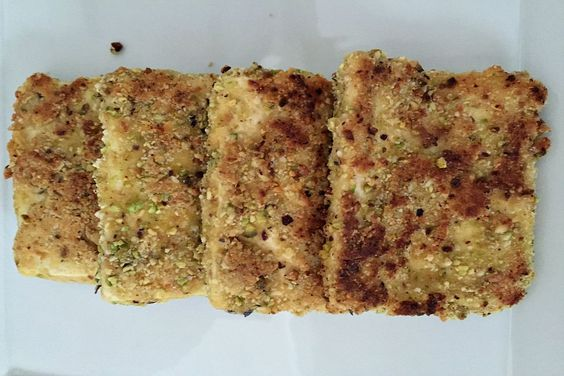 Pistachios and almonds give this tofu a delightfully crispy coating.