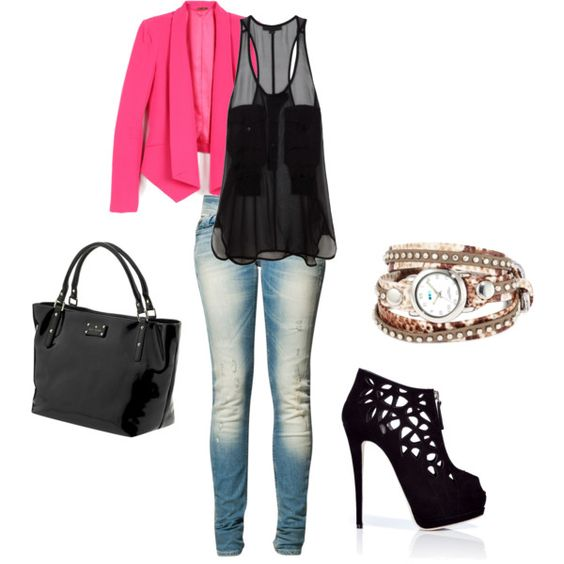 pink jacket, created by megantinley on Polyvore