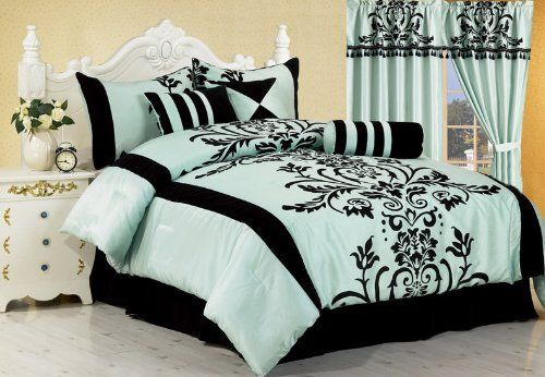 "7 Pc Modern Black Blue Flock Satin Comforter (90"" x 92"") SET / BED in a BAG - Queen Size Bedding by Grand Linen, http://www.amazon.com/dp/B0055MGZC0/ref=cm_sw_r_pi_dp_zpggqb04GA33A"