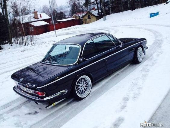 BMW E9 | BMW e series | classic cars | classic BMW | BMW in snow | winter. Man, what a beautiful car! The BBS RS wheels look so right. #bmw #cars #tyres